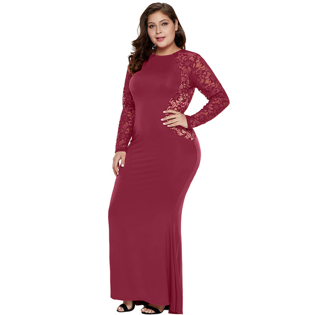 Long sequin lace plus size red dress
