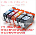 15pcs PGI-220 CLI221 ink cartridge For canon PIXMA MP550 MP560 MP620 MP620B MP630 MP640 IP3600 IP4600 IP4700 MX860 MX870 printer