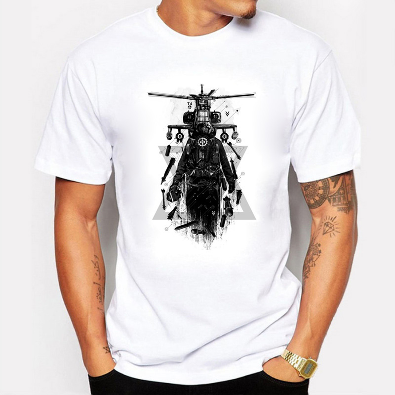 2017 summer Men T-Shirts 100% Cotton Printing Apache Helicopter Gunships Literary Personality Tee Shirt Mens T Shirts