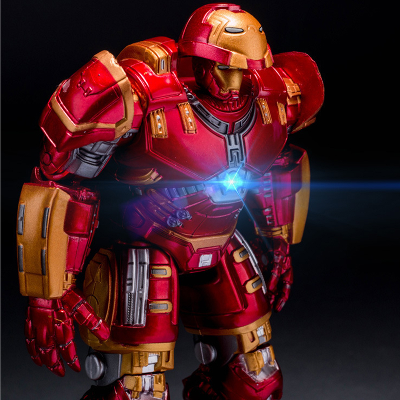 Avengers 2 Iron Man Hulkbuster Armor Joints Movable 18CM Mark With LED Light PVC font b