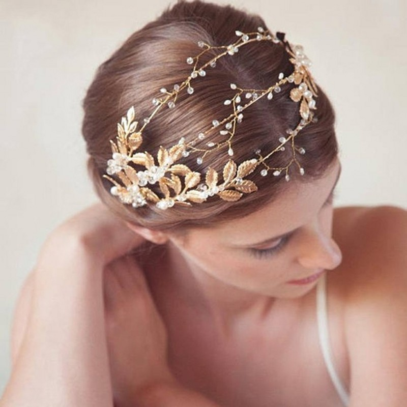 Wedding Hairstyles With Hair Jewelry: Handmade Ribbon Gold Leaves Pearl Headband Crystal Hair