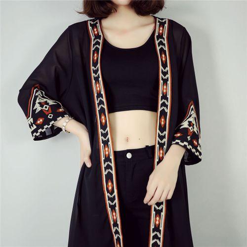 2019 High Quality Black White Kimono Cardigan Women Embroidery Long Cardigan Summer Beach Chiffon Maxi Cardigan Female cardigan