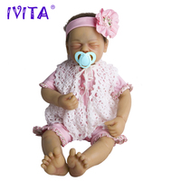 IVITA 22 Inches Silicone Reborn Babies Realistic Metal Skeleton Artificial Soft Lifelike Root Hair Silicone Reborn Baby Dolls