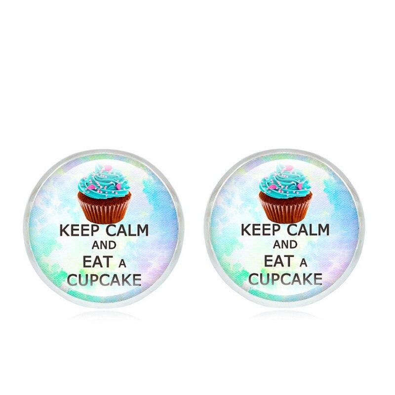 XUSHUI XJ Keep Calm and Eat A Cupcake Glass Cabochon Earrings for women Jewelry Screw Back Silver stud earrings 2017 New