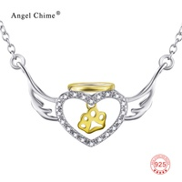 GNX0499 Gold Dog Paw Charm Jewelry Genuine 925 Sterling Silver CZ Heart Angel Wings Pendant Necklace