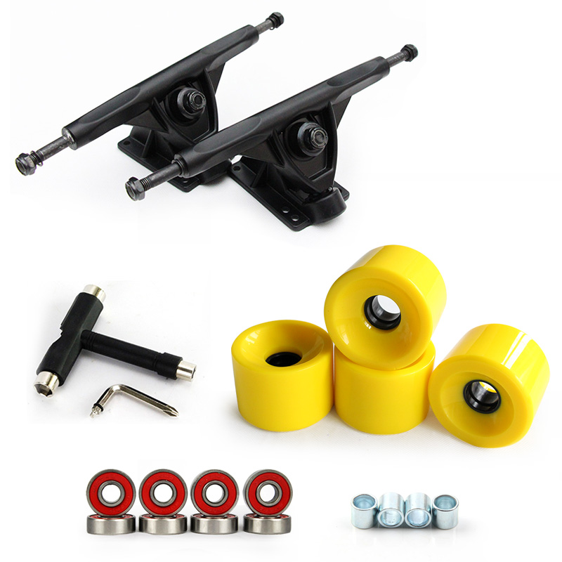 1Pair 7 Longboard Truck Wheels Set 4pcs PU wheels 8pcs Bearing T skateboard tool Skateboard Truck Wheel Combo For Longboard 4 wheel electric skateboard single driver motor small fish plate wireless remote control longboard waveboard 15km h 120kg