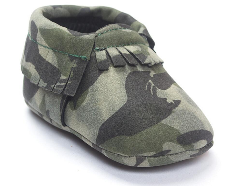 Tassels baby Shoes Fashion Army Camouflage Handsome Newborn Baby Moccasins Soft Moccs Kids Soft Soled Infant  Baby Prewalker