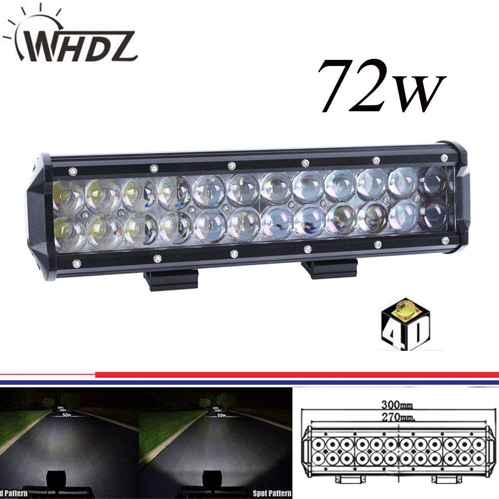 12INCH 72W 4D LED LIGHT BAR SPOT FLOOD COMBO OFFROAD 4x4 WORK LIGHTS FOR JEEP ATV 54W/144W/36W