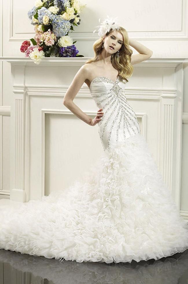 Free Shipping 2014 Luxurious Fishtail Sweetheart Sweep Train Organza Rhinestone font b Wedding b font font