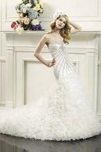 Free Shipping 2014 Luxurious Fishtail Sweetheart Sweep Train Organza Rhinestone Wedding Dress Mermaid WX11626