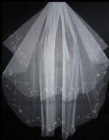 2 Layers Wedding Accessory Veils Handmade Beaded Bridal Accessories Veil
