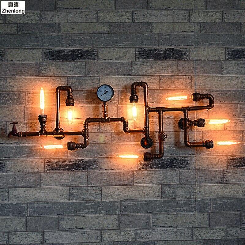 Rétro Fer Paroi de la Conduite D'eau Lampe Plafonniers d'allée Cru Loft Mur de fer Lampes Edison À Incandescence Café Lumière Ampoule 8 Lumières décor