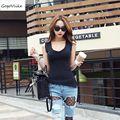 Sexy escotado top corto diseño de la camiseta femenina delgada maxi tamaño irregular placketing grande u sexy tight ajustada superior tee