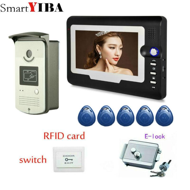 SmartYIBA RFID Unlock Electric Lock Video Intercom System Security Camera Doorbell Kit Home Surveillance Door Phone System