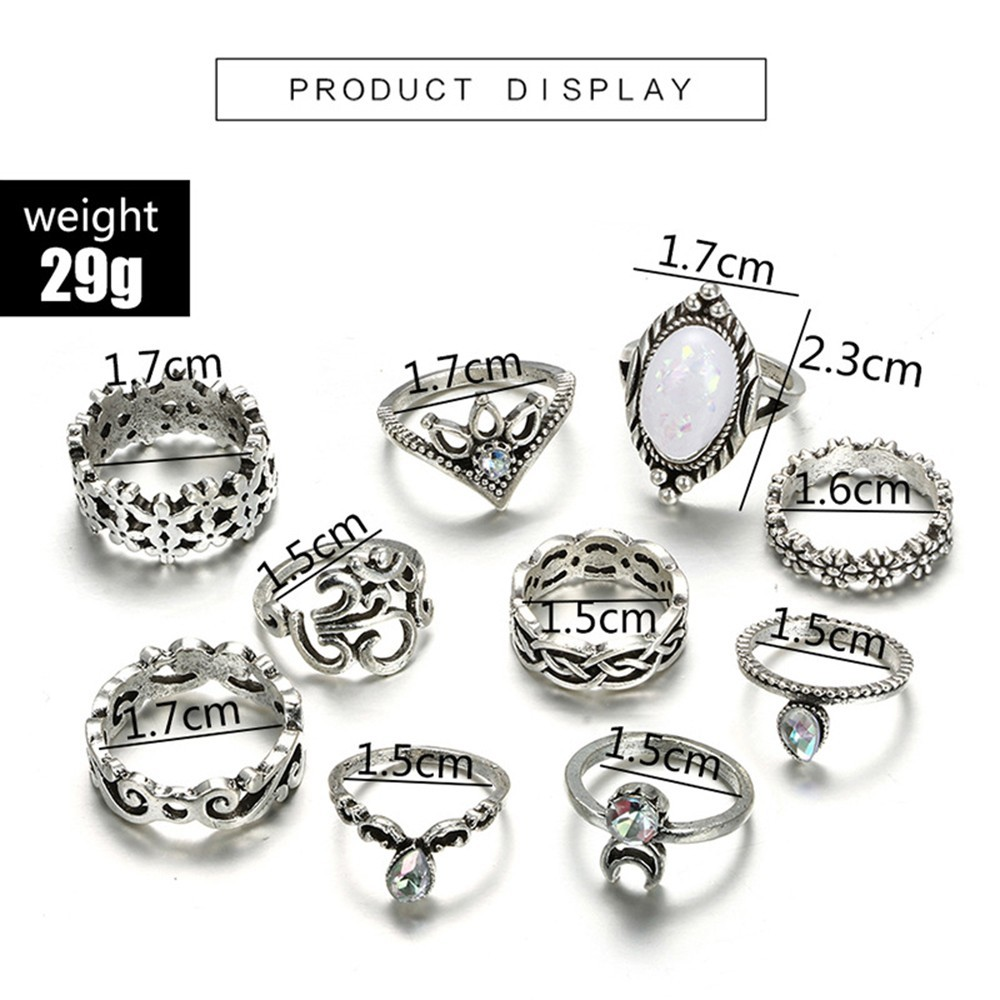 Bague Femme Vintage Rings for Women Boho Geometric Flower Crystal Knuckle Ring Set Bohemian Midi Finger Jewelry Silver Color 15
