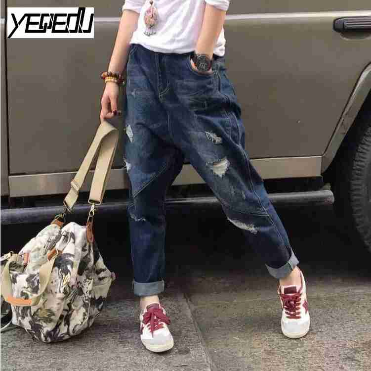 1730 2017 Ripped jeans for women Vintage Cuffs Wiht pockets Denim Distressed Harem jeans Wide