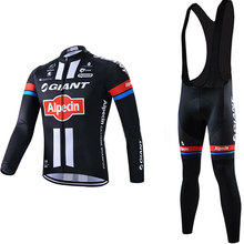 Men Cycling wear 2015 Black GIANT Cycling sets breathable Bike suit Long Sleeve cycling Jersey and 3D gel bib pants