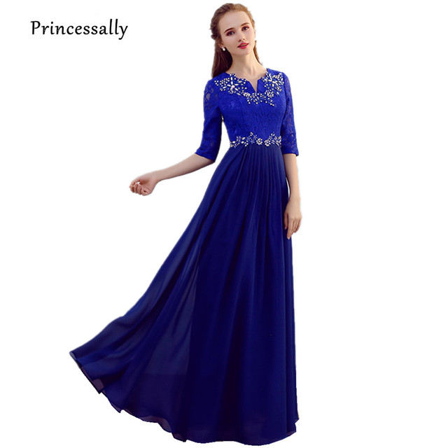 30f09963b8b Robe De Soriee New Royal Blue Bridesmaid Dresses Half Sleeve Lace Beading  Embroidery Elegant Chiffon Bride Prom Party Gown Cheap