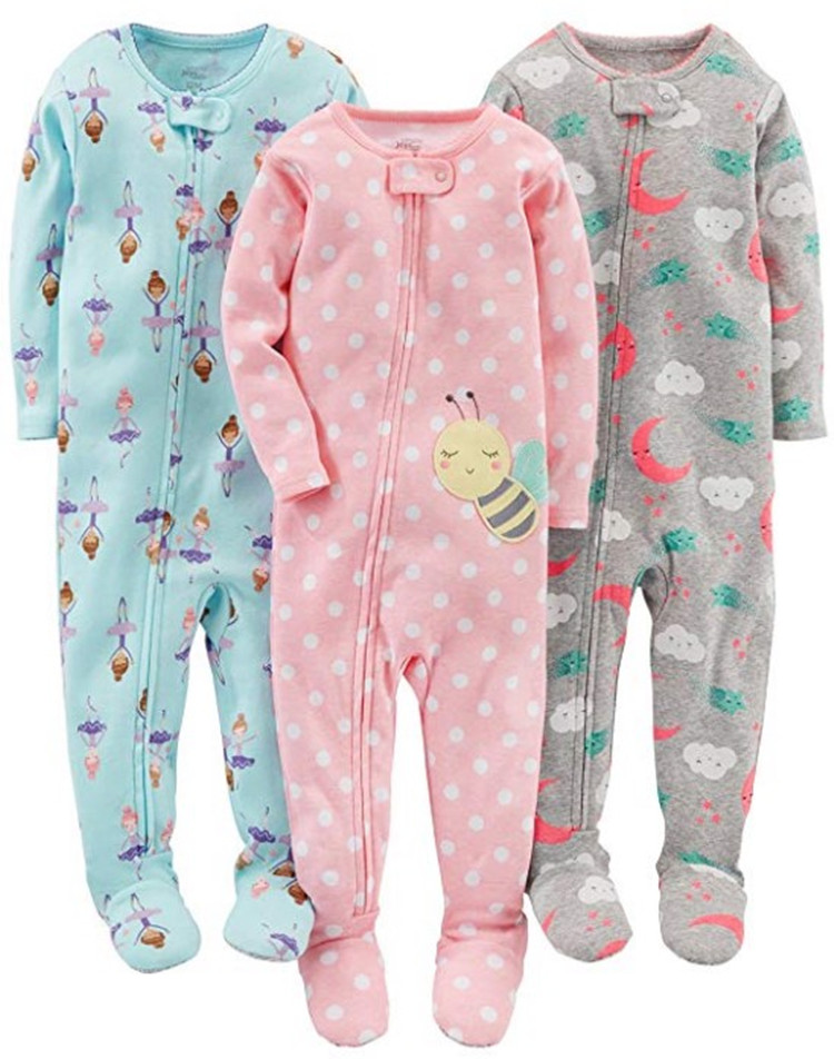 Foreign trade original boy and girl baby cotton cloth clothing package foot coveralls   romper   children warm warm pajamas