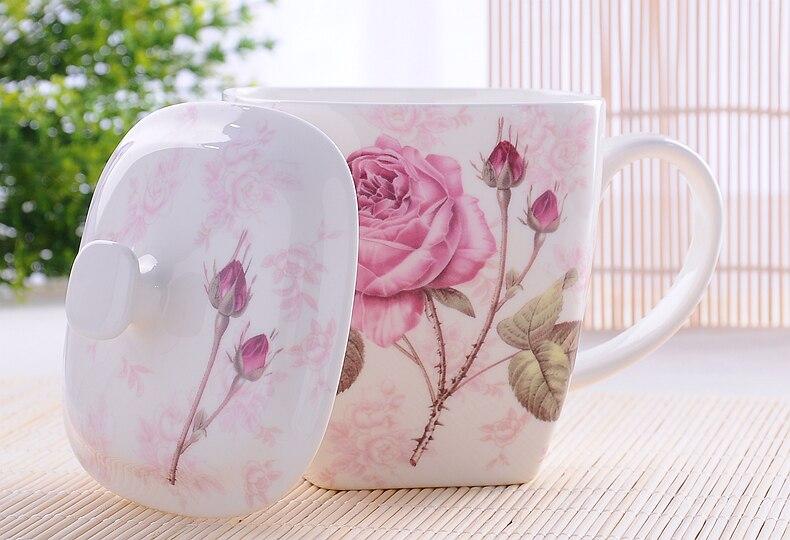 500ML Cute floral rose bone china breakfast nespresso mug, creative flower designed, enamel mug, ceramic coffee cup, with lid