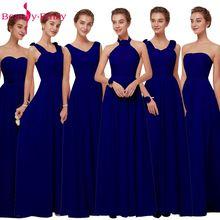 Королевские синие шифоные платья для подружек невесты Длинные женские платья трапеция  большого размера на свадебные вечеринки и выпускной  без рукавов