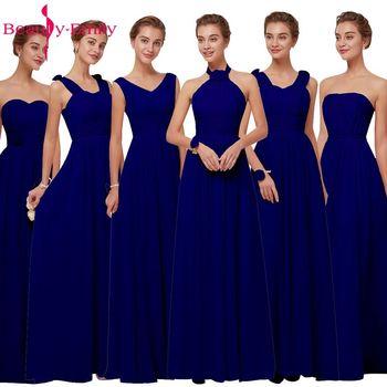 Robes de demoiselle d'honneur mousseline de soie bleu Royal 2019 longues pour les femmes grande taille a-ligne sans manches fête de mariage robes de bal beauté Emily