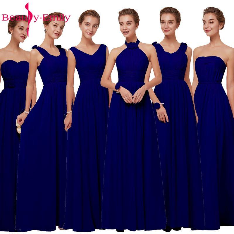 Royal Blue Chiffon Bridesmaid Dresses 2019 Long for Women Plus Size A-Line Sleeveless Wedding Party Prom Dresses Beauty Emily