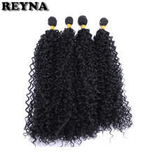 REYNA Black color Afro Kinky Curly hair bundles 30 inch 100 Gram/pcs Synthetic Hair Extensions Four piece/pack Curly hair weave(China)