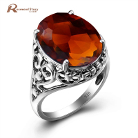 Palace Fashion Jewelry Big Rings Oval Vintage 12.6ct Brown Amber Stone Genuine 925 Silver Ring for Women Tibetan Silver Rings
