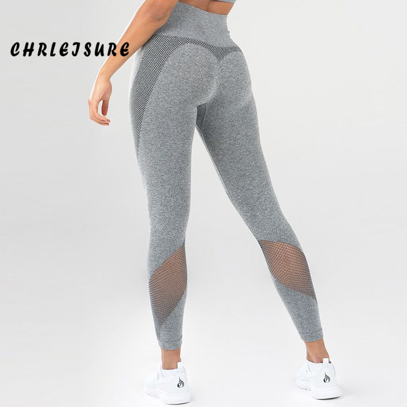 CHRLEISURE New Activewear Women   Leggings   High Waist Solid Color Mesh Patchwork Polyester   Leggings   Sportswear Slim Stretch Pants