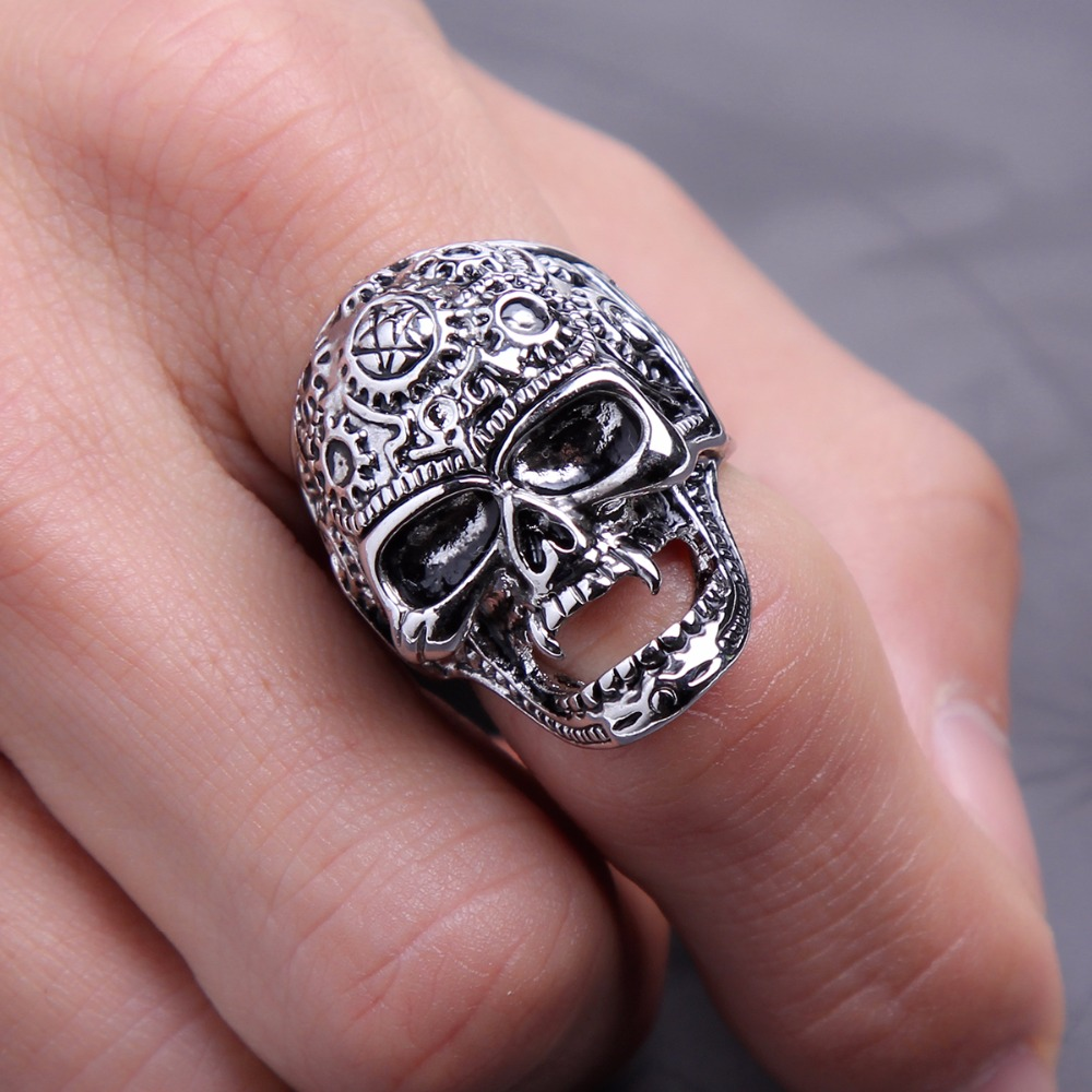 Black Friday Stretch Rock Roll Tattoo Punk Skull Adjustable Silver ...