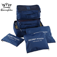 6pcs Set Fashion Double Zipper Waterproof Polyester Men And Women Luggage Travel Bags Packing Cubes
