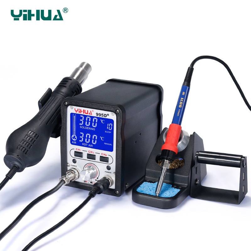 YIHUA 995D+ Soldering station 60W soldering iron 650W hot air gun bga rework station smd rework Electronic circuit repair tool-in Soldering Stations from Tools    2