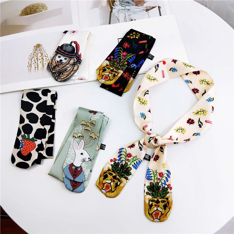 Korean Cartoon Animal printed silk Scarf for women Female fashion neck scarf Bag strap long scarves skinny scarfs