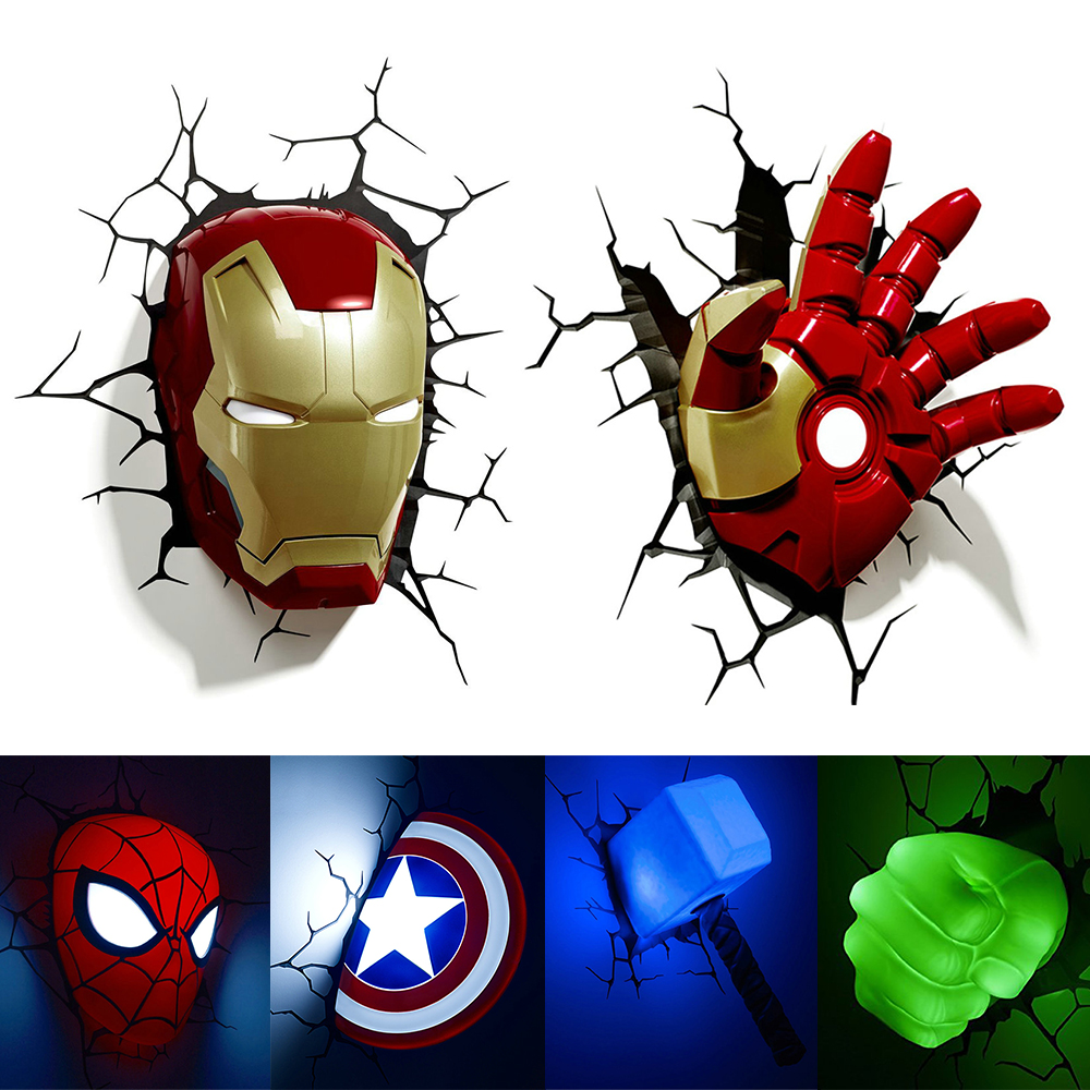 Wireless wall lamp for Kids room Bedroom Children led 3D Sticker Iron Man Hulk Christmas Gift Night marvel wall lights image