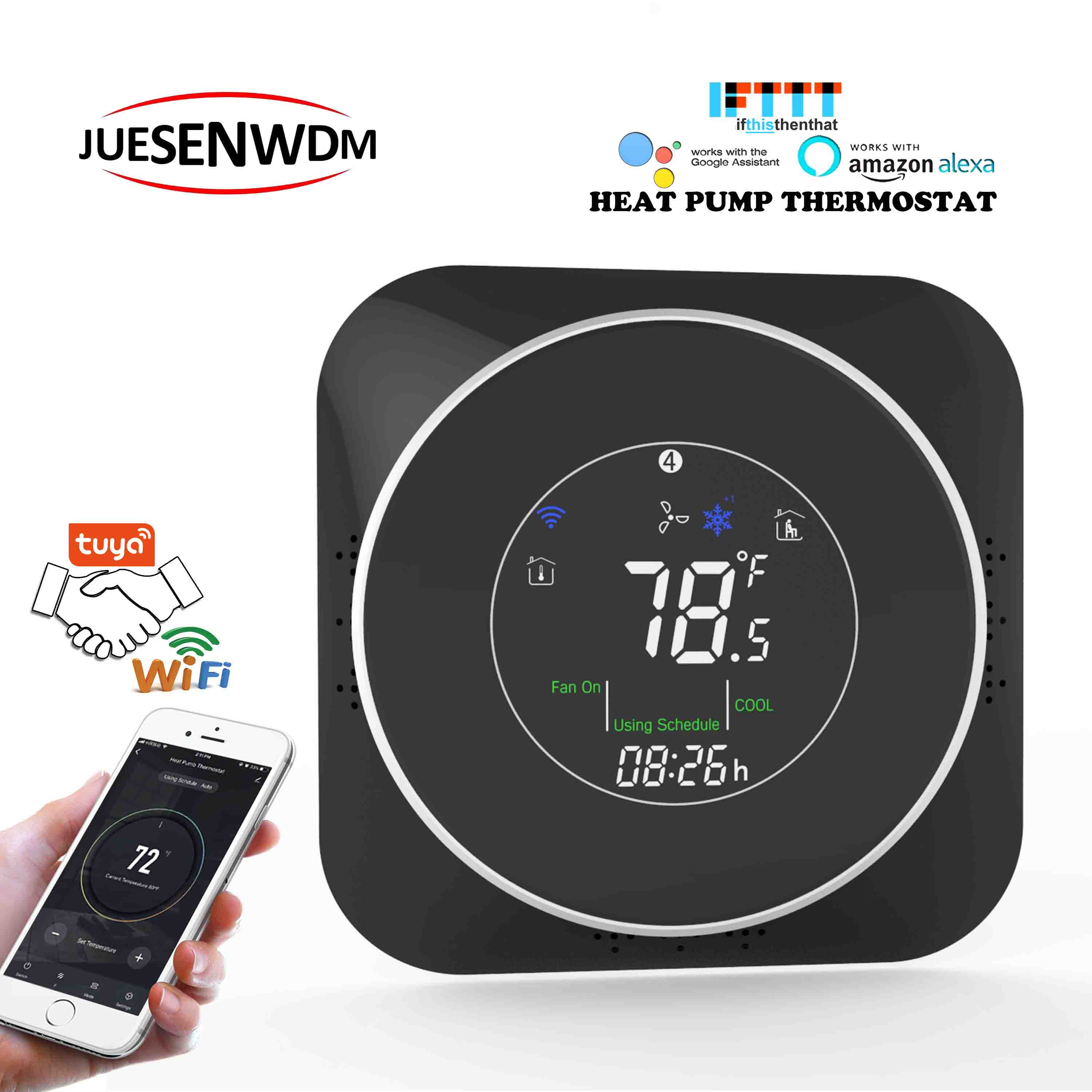 24VAC ℃&℉ Changeable Heat Pump Heat Transfer Controller THERMOSTAT WIFI For Room Temperature Adjustment