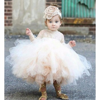 Champagne Long Sleeeve Little Baby Child Girls Pageant Dress For Wedding Party Lace Tulle Tutu Flower Girl Dress
