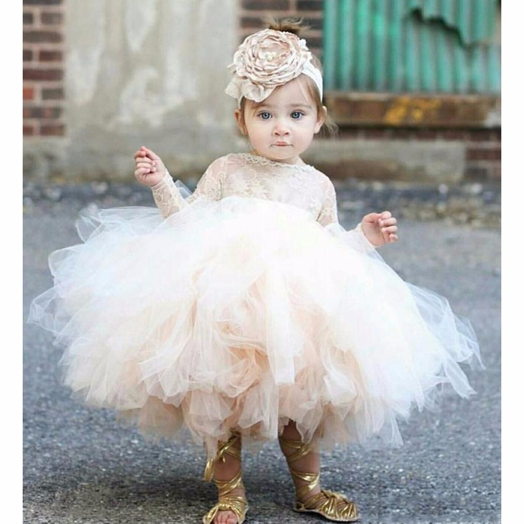 Elegant Champagne Tulle Ball Gown   Flower     Girl     Dress   For Wedding Long Sleeve Tutu Baby Toddler Pageant   Dresses   With Free Headwear