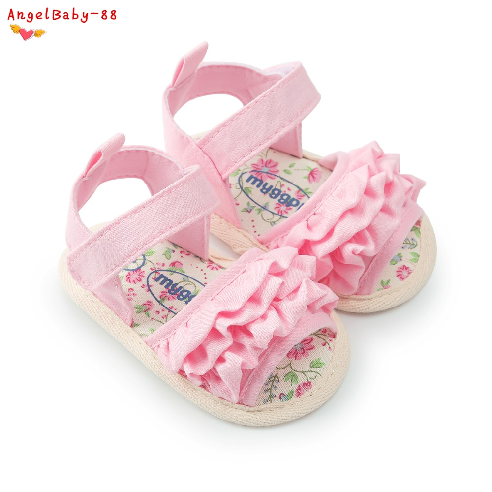 Summer Girl Sandals Newborn Baby Shoes 0-18M Lace Cute Princess Shoes Breathable Cotton Baby Sandals Prewalker