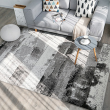 Light luxury Nordic ins style mat Ink mottled art carpet Bedroom living room office rug woven fabric non-slip 1.4x2m floor