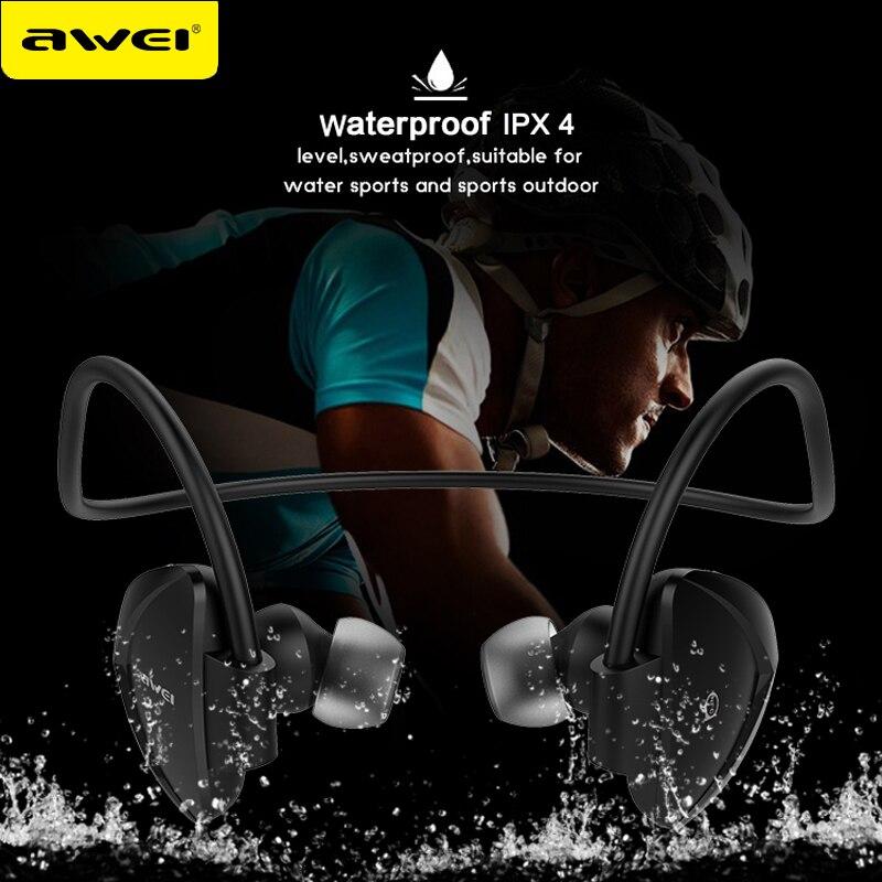 AWEI A840BL Bluetooth Earphone Wireless Headphones Bluetooth 4.1 IPX4 Waterproof Sport Headset For Phones For iPhones 7 remax 2 in1 mini bluetooth 4 0 headphones usb car charger dock wireless car headset bluetooth earphone for iphone 7 6s android