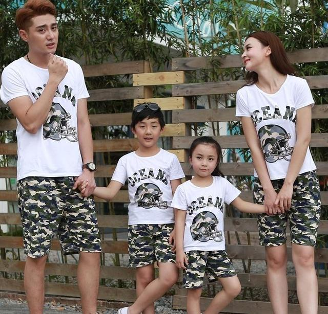 Family outfits woman girls man Boys sets Oceana camouflage t shirt+ pants Family sets