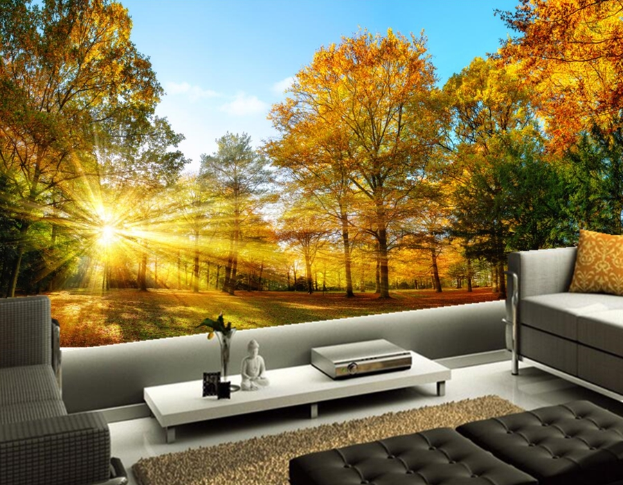 Custom mural,Seasons Autumn Trees Rays of light Nature wallpapers,bar living room tv background kids room 3d wallpaper coloring of trees