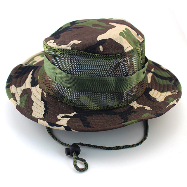 b1d5a399c43 New Military Camouflage Vent Bucket Hats Sunscreen Mesh Hats Fisherman Sun  Protection Wide Brim Hats Outdoor Hiking Hunting