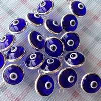 10pcs One Hook 925 Sterling Silver Double Side 10mm 7mm Turkish Evil Blue Eye Beads Pendant