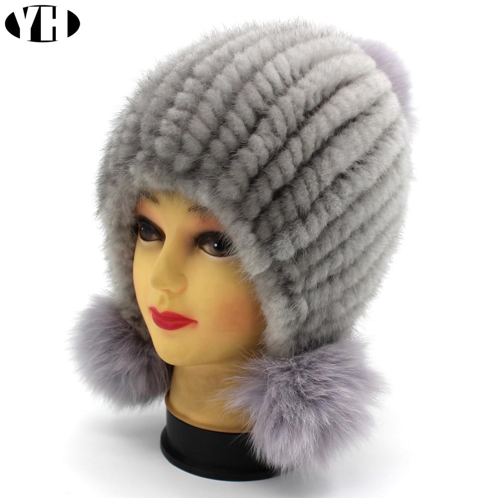 Image 4 - New Fashion Women Real mink Fur Hat Natural mink fur Beanies Fur Caps Fashion lady Elastic Hat Winter Skullies fox fur pom poms-in Women's Skullies & Beanies from Apparel Accessories