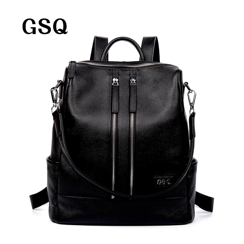 GSQ Fashion Genuine Leather Women Backpack Hot High Quality Famous Brand Women School Bag Girl Women backpack travel bags NG844 2016 fashion women s genuine leather backpack backbag hot selling woven genuine leather