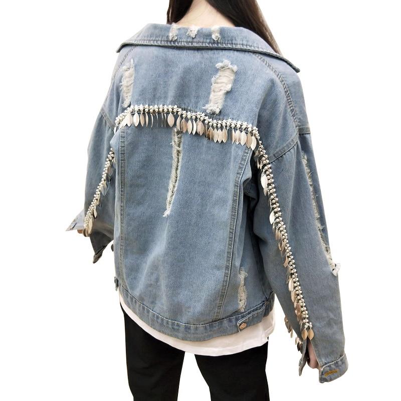 Women s Long Sleeve Spring Tassel Ripped Hole Denim font b Jacket b font 2018 New