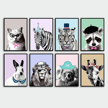 Humor Lion zebra Giraffe Rabbit Koala Nordic Posters And Prints Wall Art Canvas Painting Pictures For Living Room Decor