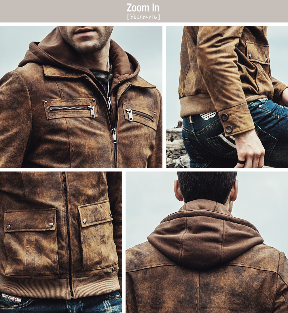 2017 NEW Men's Retro Autumn Winter warm Coat Real leather Motorcycle jacket Detachable Hooded Male Genuine Leather Jacket